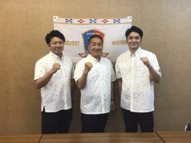 左)水野社長(中)黄監督(右)石田GM